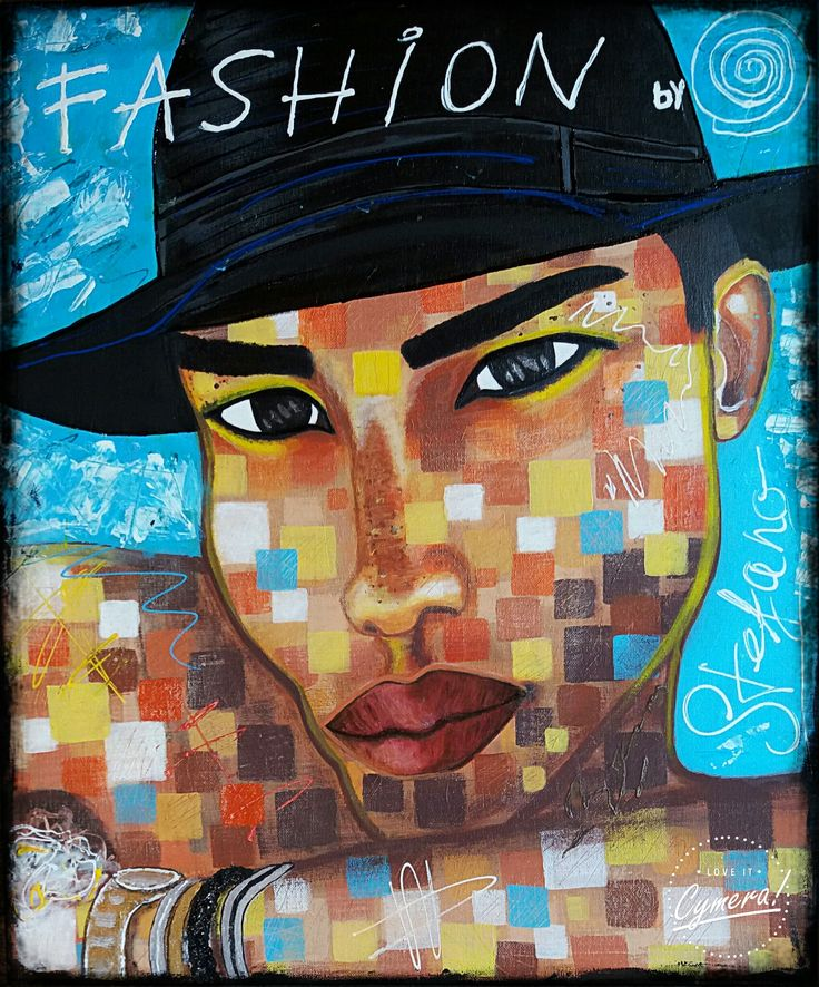 """Fashion by STEFANO acrylic on canvas(50x60cm) model:Olivier Rousteing """"the guys on instagram"""" 2015 .fashion art,fine art,acrylic,painting,painter,balman,fashion,faces"""
