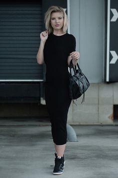H Wrap Side Drape Black Maxi Dress Alexander Wang Look A Like Ko, Balenciaga Motorcycle Bag Look A Like Ko Black Leather, All Black Mesh Nike Dunk Sky Hi Wedge Sneakers