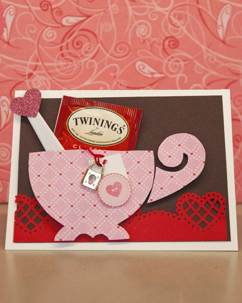 Teacup valentine's day card. i'd swap the teabag for a Starbucks gift card for the coffee lovers in my life, or cocoa for kids.