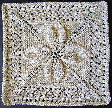 Leaf and lace counterpane square knit from a Victorian era knitting pattern.--- עלה1 מ-2