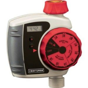 """Craftsman 9 Selection Pre-Set Electronic Water Timer by Craftsman. $43.99. WATER TIMER 9-Pre-Set Times Selections. 2 """"AA"""" Batteries Required (sold separately). Automatically Turns Sprinkler On and Off. Product Description: A brand-new, unused, unopened, undamaged item in its original packaging.  WATER TIMERS can simplify the time-consuming process of watering. Water timers also keep your garden and lawn healthier by providing consistent, measured watering. Craft..."""