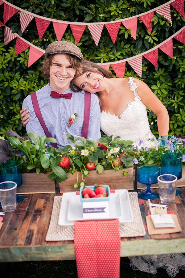 strawberry themed wedding anyone? we adore this wedding and table http://www.weddingchicks.com/2013/10/08/american-wedding-ideas-2/