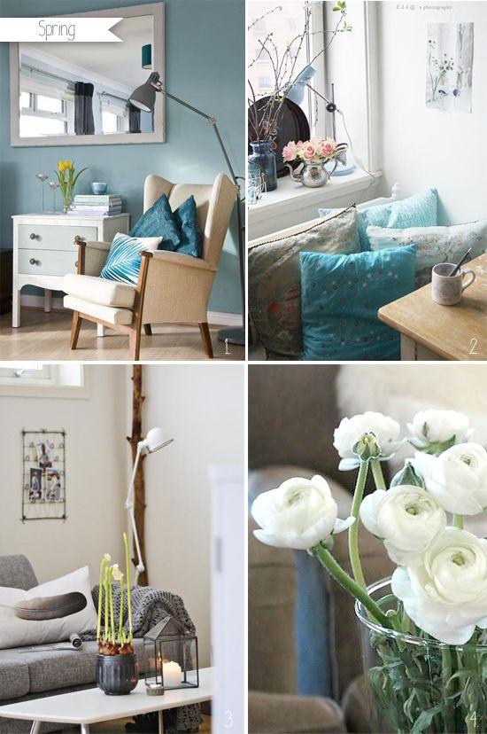 Living room inrey and petrol via Stylizimo