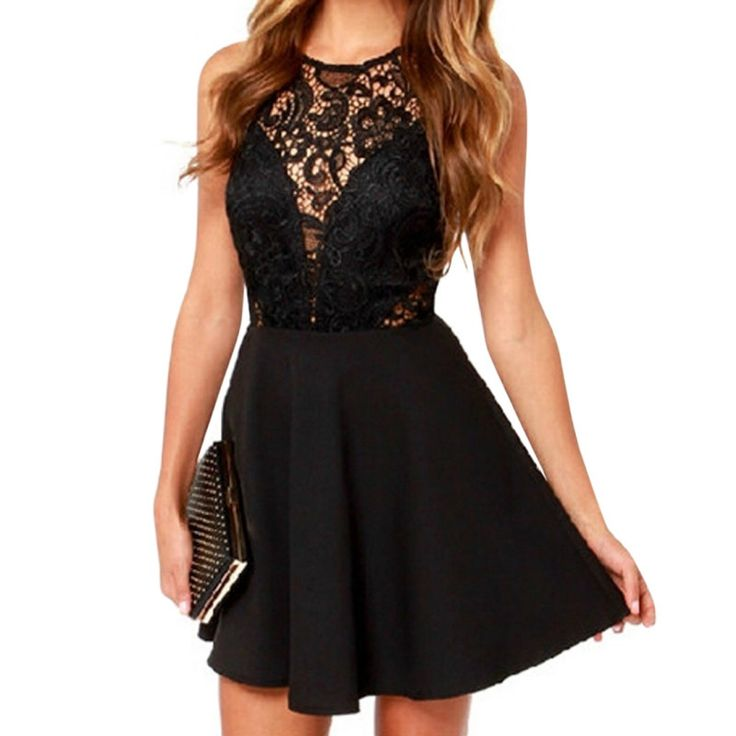 Vestidos 2016 Summer Elegant Women Casual Solid Sleeveless Slim Lace Mini Dress Hollow Out Lace Black Dress Plus Size