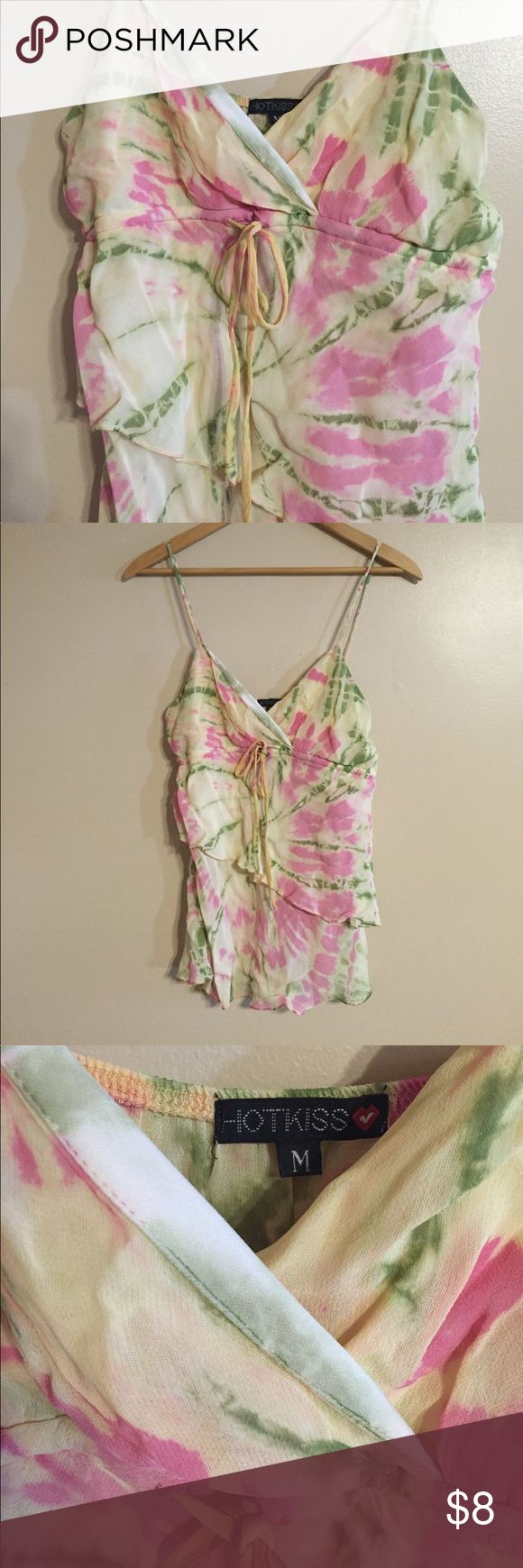 NWOT Tie Dye Flouncy Bikini Tank Never worn! Very unique shirt, with a pink, green and cream tie dye pattern in a multi-layered cut. Pull string at bust and inner lining on chest area. Hot Kiss Tops Blouses