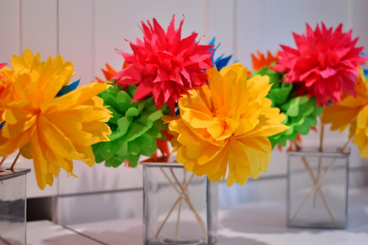 Fiesta Flower Bouquets for Cinco de Mayo centerpieces - each flower uses 6 cocktail napkins, bamboo skewer, and one twist tie
