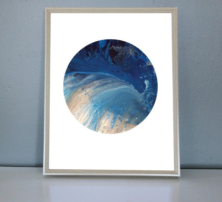 NEPTUNE - Blue, light blue, silver, White Moon/Planet Art Print 8X10, 11X14 by PrettyPaperPlaceShop on Etsy