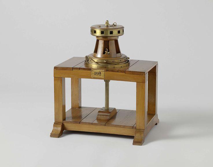 Philips | Model van een kaapstander, Philips, Rijkswerf Vlissingen, 1819 | Model van een kaapstander in een houten frame dat twee dekken voorstelt. De kaapstander is voor twaalf windbomen en heeft acht pallen in de hiel tegen het teruglopen. De metalen koning loopt door tot in een spoor op het onderste dek. Deze kaapstander heeft twee snelheden, die verkregen worden door de pallen in de kop en in de hiel neer te laten of op te tillen; het raderwerk, bestaande uit zon-en-planeetraderen, is…