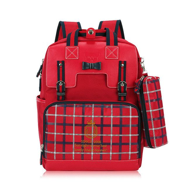 hot sale girls school backpack women travel bags bookbag mochila plaid bag children school bags for teenagers red pencil case