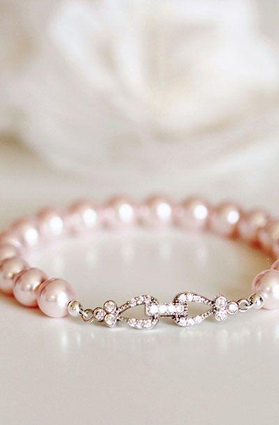 Blush Pink Pearl Bracelet Wedding Jewelry