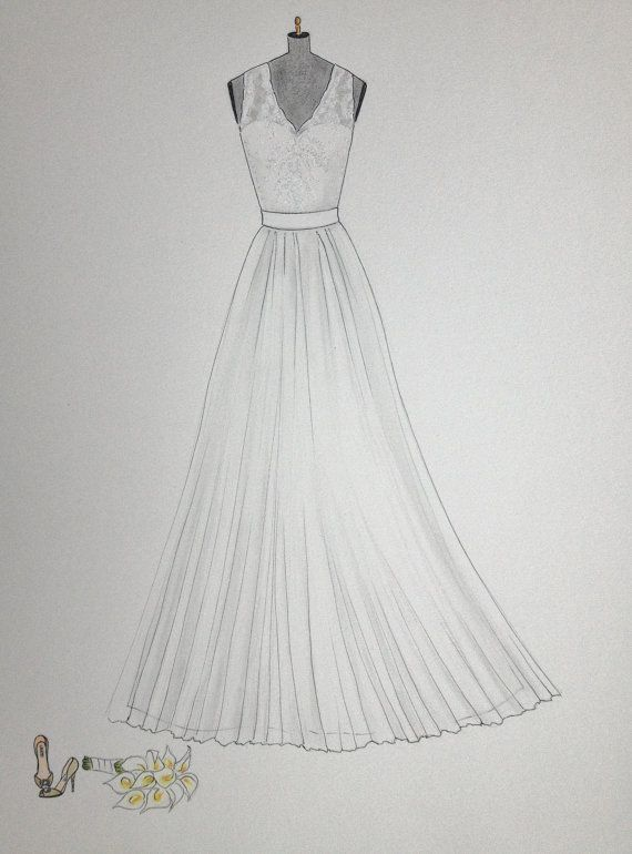 Custom wedding dress sketch wedding gown bouquet and shoes by Zoia