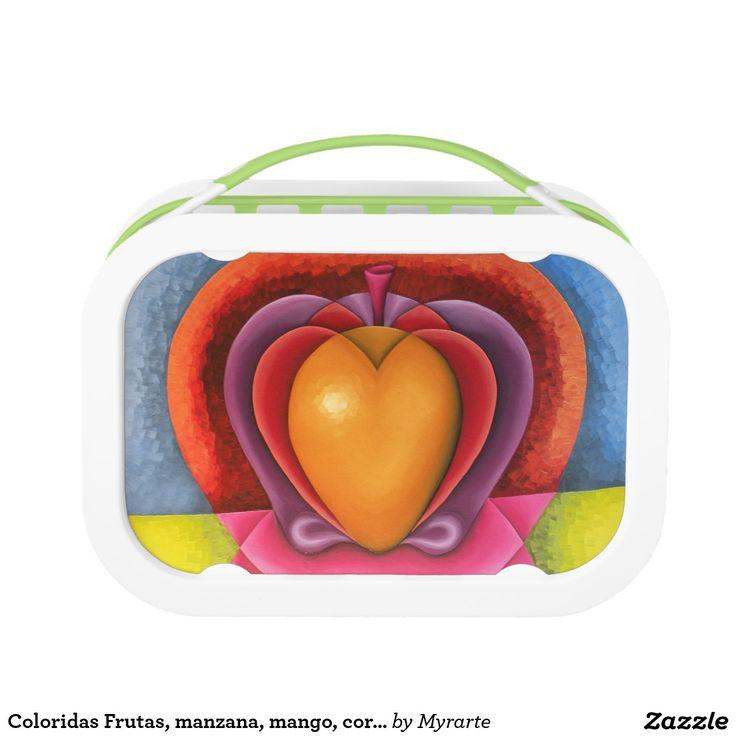 Coloridas Frutas, manzana, mango, corazón. Producto disponible en tienda Zazzle. Product available in Zazzle store. Regalos, Gifts. Link to product: http://www.zazzle.com/coloridas_frutas_manzana_mango_corazon_lunch_box-256755523619975108?CMPN=shareicon&lang=en&social=true&rf=238167879144476949 #lonchera #LunchBox