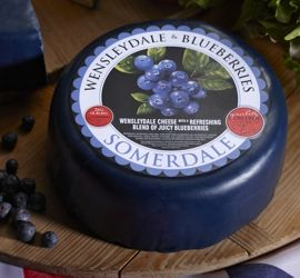 Wensleydale & Blueberries - The sweet natural acidity of #Wensleydale is complimented by fruity bursts of #Blueberry. #EnglishCheese #cheese #Australia #blueberries #lovecheeese