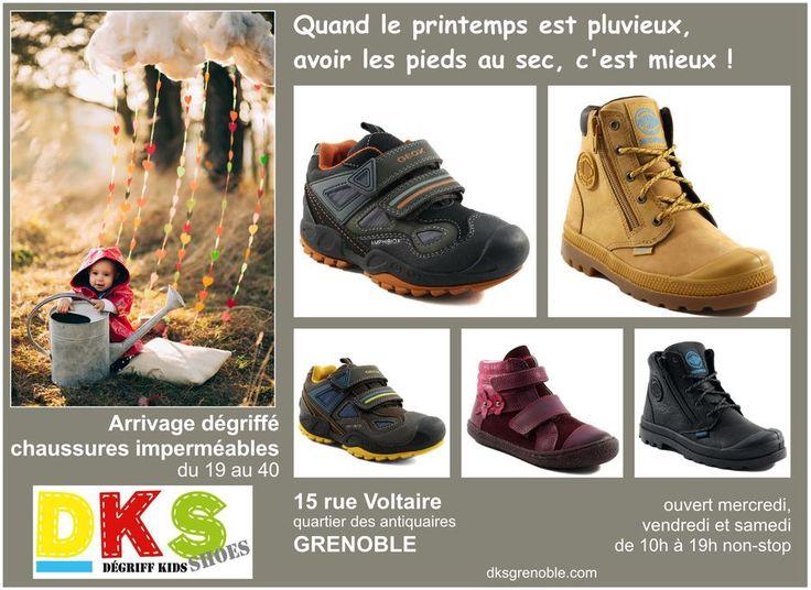 Printemps pluvieux ? avoir les pieds au sec, c'est mieux !  Arrivage de chaussures imperméables et respirantes (Goretex) du 19 au 40, à prix dégriffés - 30% exemples de marques : Géox, Palladium, Primigi, Superfit, Timberland...  DKS Degriff Kids Shoes #chaussures dégriffées pour #bébé #enfant et #femme à #grenoble. www.dksgrenoble.com DKS: c'est bien fait pour tes pieds !