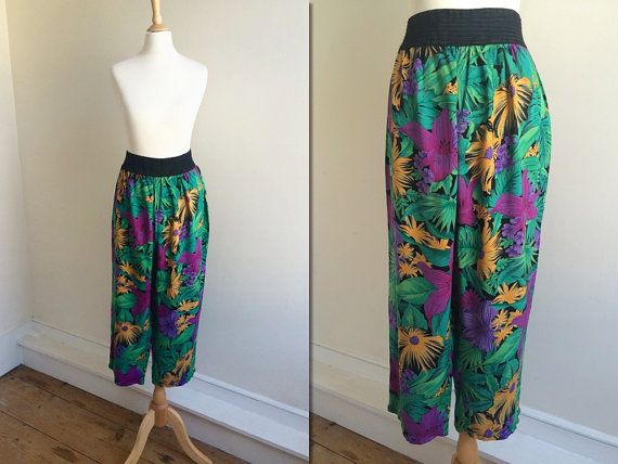 1980s Tropical Print Cropped Trousers  Size by HappyRedUK on Etsy