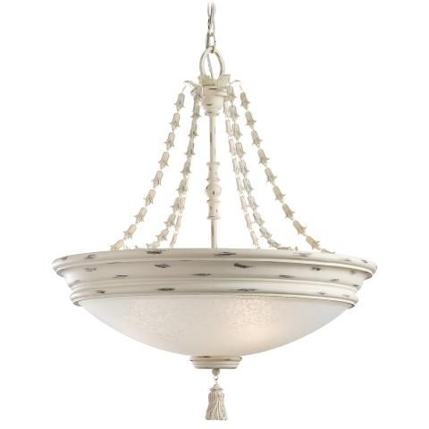 Accents Provence - 4 Lt Bowl Pendant- Jessica McClintock Home- The Romance Collection™ - 4 Light Bowl Pendant in Provencal Blanc Finish w/ White Patina Glass- Jessica McClintock Home- The Romance Collection™