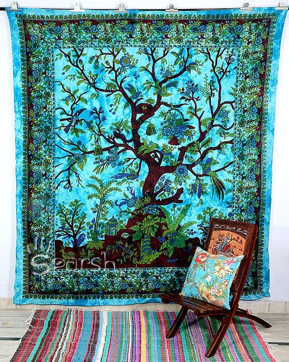 Tree of Life Wall Hanging Hippie Tapestry Indian door Sparshh