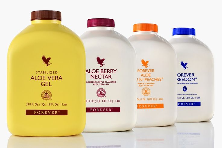 Enjoy the benefits of Aloe Vera in four healthy varieties of fresh, stabilized aloe vera gel - Aloe Vera Gel, Aloe Berry Nectar, Forever Bits n' Peaches and Forever Freedom.