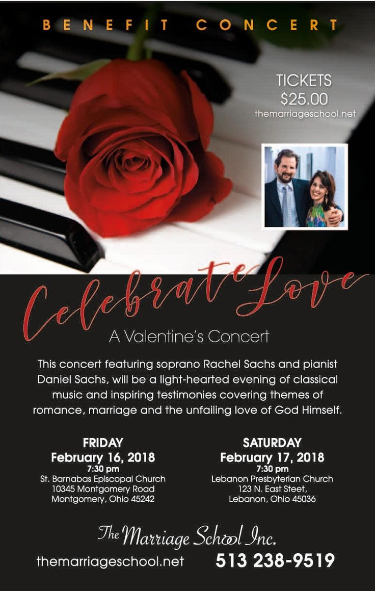 The Marriage School, Inc., a local Christian nonprofit organization, will present two Valentine's Benefit Concerts in February, the first on February 16th at 7:30pm at St. Barnabas Episcopal Church in Montgomery and the second on February 17th at 7:30pm at Lebanon Presbyterian Church in Lebanon. The concerts will feature soprano Rachel Sachs and pianist Daniel …