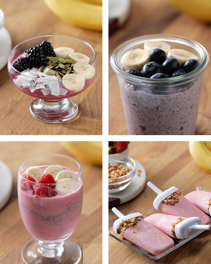 Banana Berry Smoothies 4 Ways  -- All you need is some Chobani Vanilla Greek Yogurt, and a delicious imagination! Smoothies 4 ways! http://cho.ba/2njAxBC