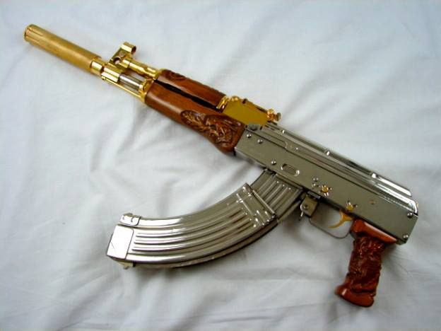 Draco Ak 47 Pistol Bright Nickel And 24 Karat Gold Plated With Custom Hand Carved Wood Stocks Proof That Guns Can Be Art