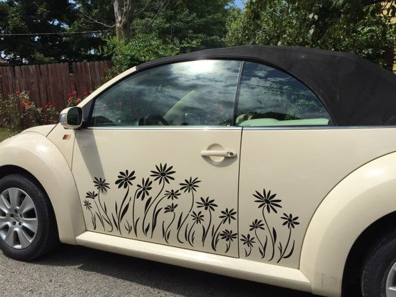 Daisy decals vinyl in one color for your vw beetle 2011 or older sides and trunk