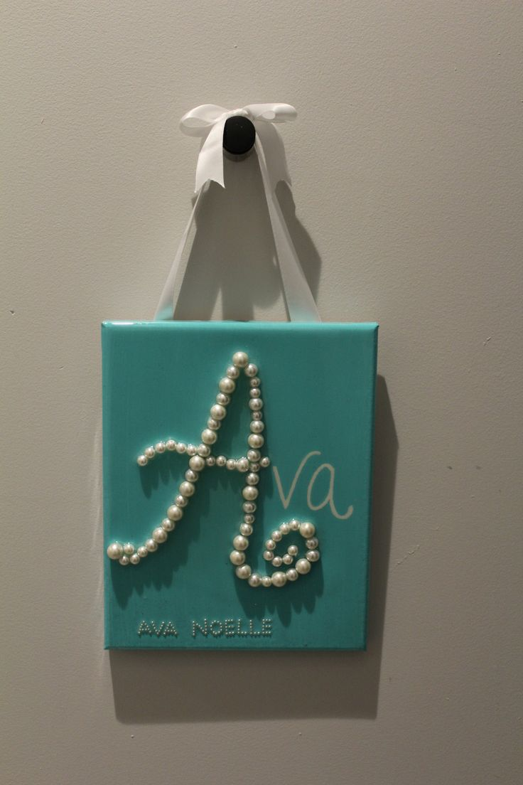 """- This 8x10 canvas was painted custom tiffany blue - """"A"""" for Ava out of faux pearls - Finished with a crystal clear glaze, high gloss polyurethane coat to ensure stability of pearls - Hanging from a s More"""