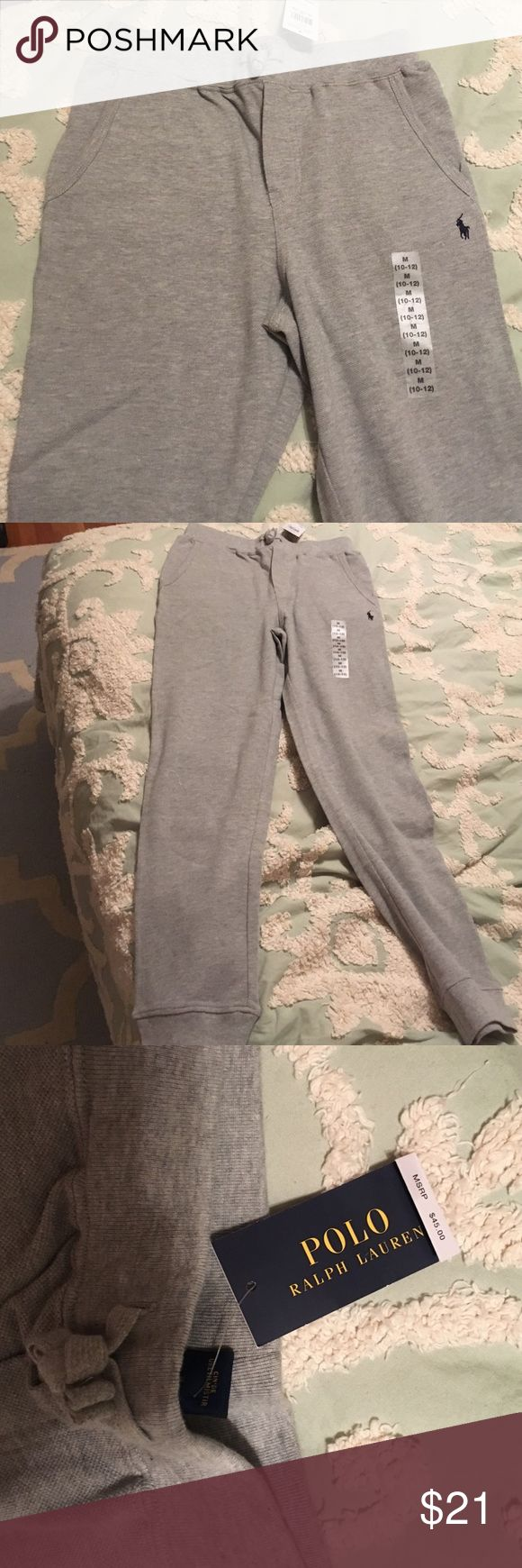 brand-new polo sweatpants Gray comfortable brand-new tags still on polo pants medium size 10/12 boys Polo by Ralph Lauren Bottoms Sweatpants & Joggers