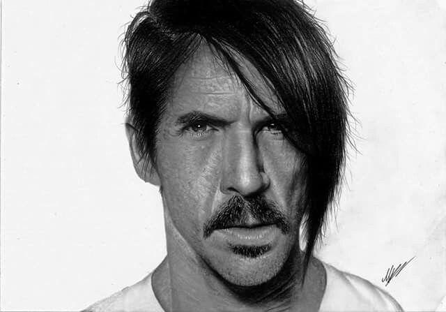 Anthony Kiedis Hyperrealistic pencil drawing