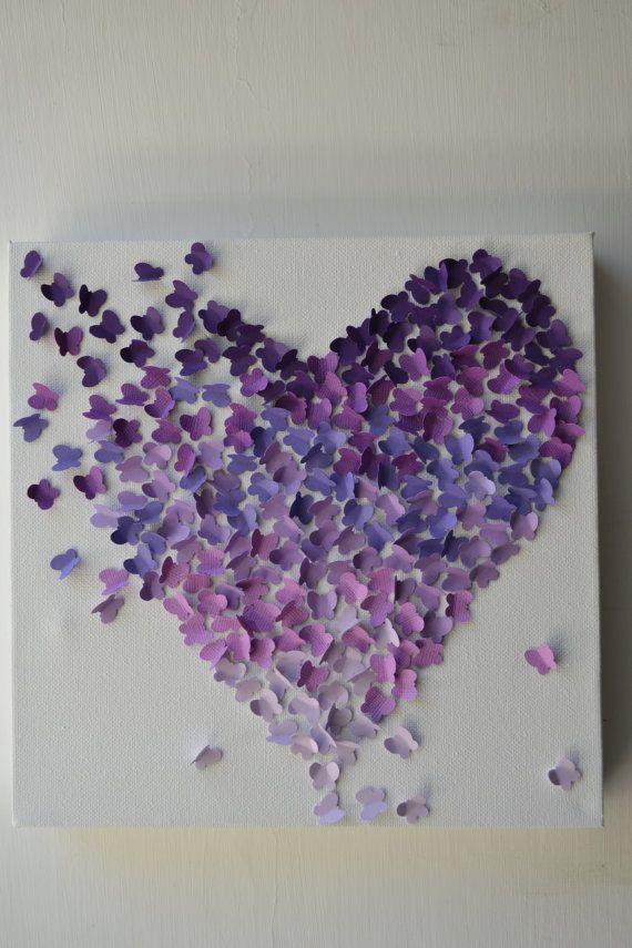Purple Ombre Butterfly Heart/ 3D Butterfly Wall Art / by RonandNoy, $50.00