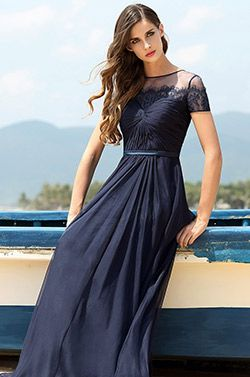 A Line kurzärmelig dunkel blau Fomal Kleid Ball Abendkleid (00160605) - EUR 110,49