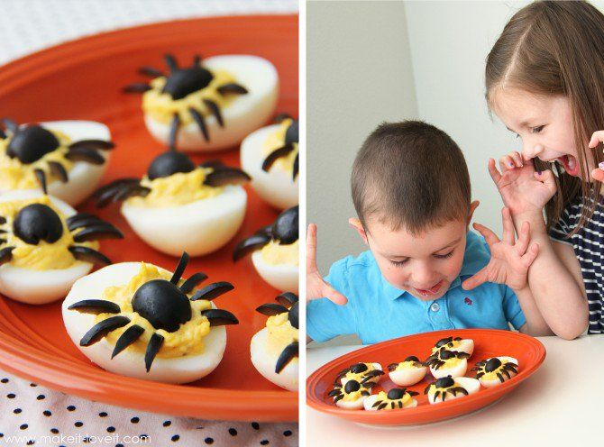 dress up ordinary hard boiled eggs to look like these spooky spider eggs for halloween!