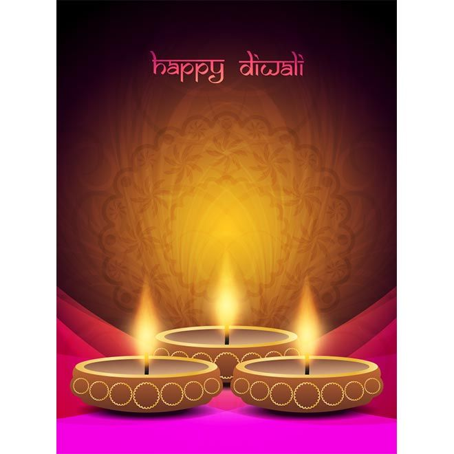 Free Vector illustration of Happy Diwali Diya with around curtain on elegant background and Diwali logo poster flayer template design