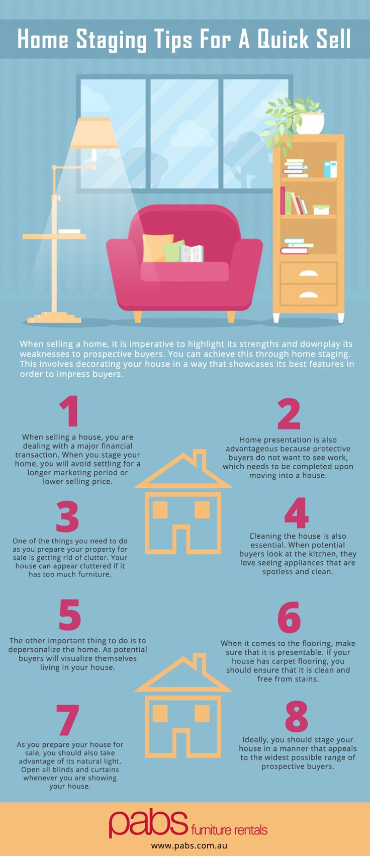 Selling a house can be troublesome. #Homestaging helps in highlighting the strengths and hiding the weaknesses from prospective buyers. Have a look to this Infographic, to know more about home staging tips for a quick sell.