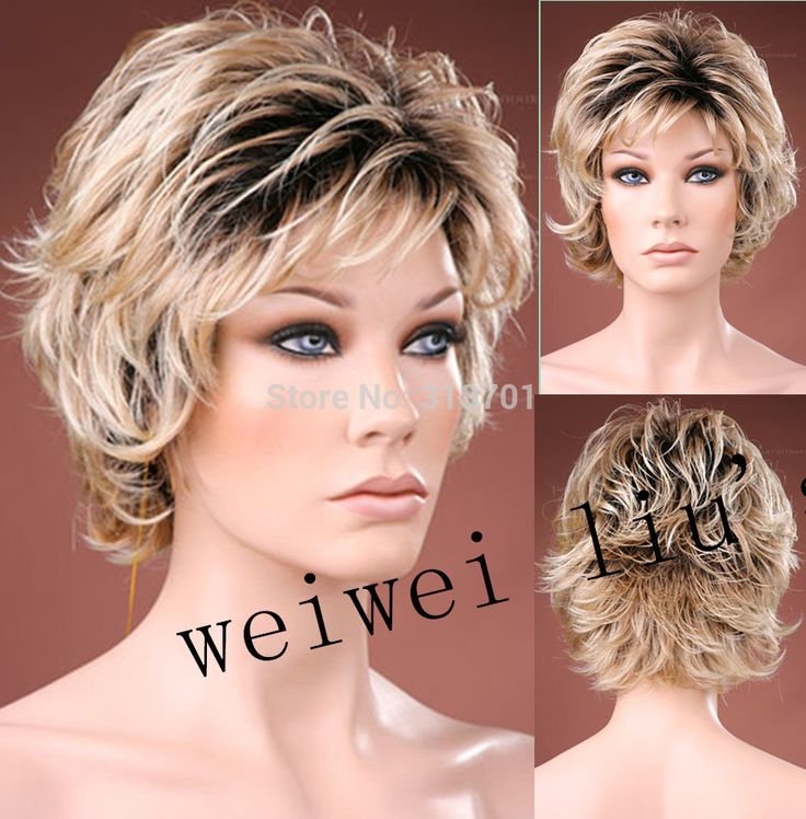 Free Shipping new curly Short Women Wigs Synthetic Hair Wig blonde with dark roots Ombre hair Wig