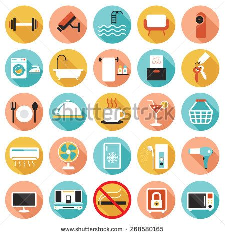 Hotel Accommodation Amenities Services Icons Set B