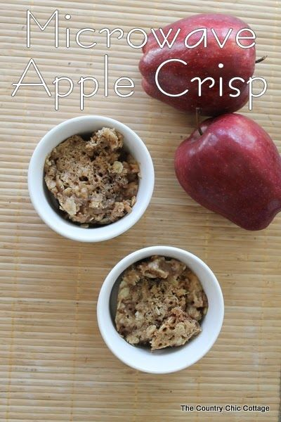 Microwave Apple Crisp -- yes you can make a crunchy topped apple crisp in the microwave!  Click to get this great recipe that you can make quickly any night of the week!
