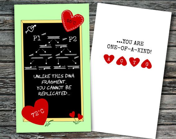 Mini Science Valentines Day Cards Set of 12 | Biology ...