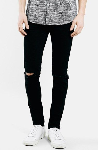 Topman Ripped Stretch Skinny Fit Jeans (Black) available at #Nordstrom