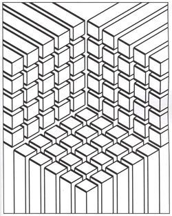 Free coloring page coloring-illusion-optic-cubes. The meeting of three cubic symmetrical and geometric structures