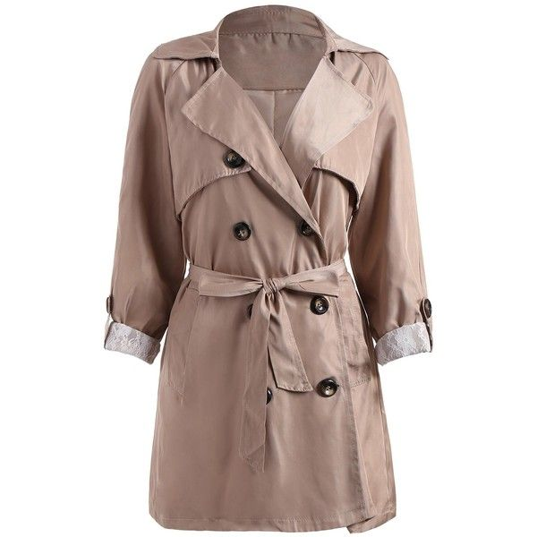 Double Breasted Lapel Plus Size Trench Coat ($29) ❤ liked on Polyvore featuring outerwear, coats, plus size women's trench coat, lapel coat, womens plus coats, brown double breasted coat and brown coat