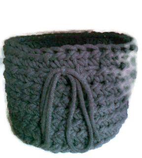 Koszyk ze sznura w kolorze ciemno szarym - Edyta-86 - Dekoracje