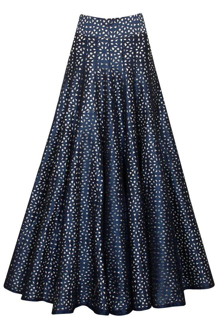 Midnight blue lasercut high waist lehenga by SVA. Shop now: http://www.perniaspopupshop.com/designers/sva #sva #lehenga #perniaspopupshop #shopnow