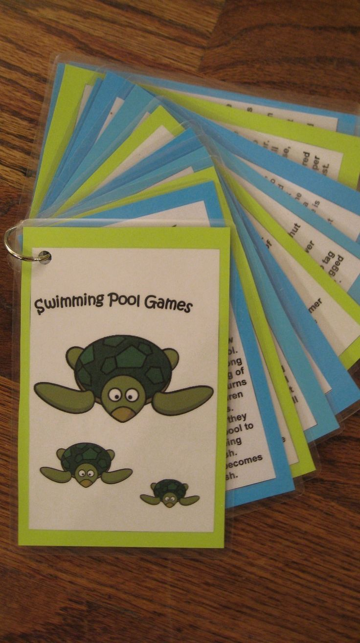 Swimming Pool Games Laminated Cards  We could make these and keep them handy for the counselors/campers  #camp #pool #games