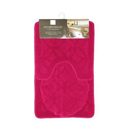 Aries Geometric Circles Design 3 Piece Bathroom Rug Set, Bath Rug, Contour Rug, Lid Cover (Fuchsia) - Walmart.com