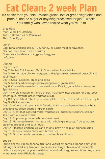 Eating Clean Meal Plan (2 weeks of B,L,and D plus snacks ideas)