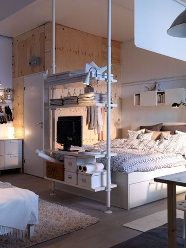 Thoughtful bedroom design with smart storage solutions.
