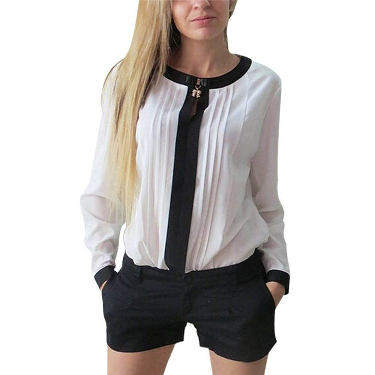 4 Colors Retail Wholesale Women Long Sleeve Shirt Chiffon Pleated Patchwork Office Blouses Tops
