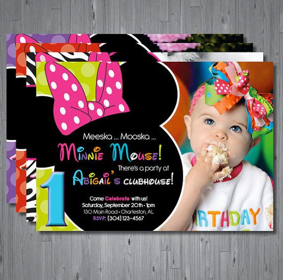 Minnie Mouse First Birthday Party Via Little Wish Parties: Minnie Mouse Birthday Invitation, First Birthday