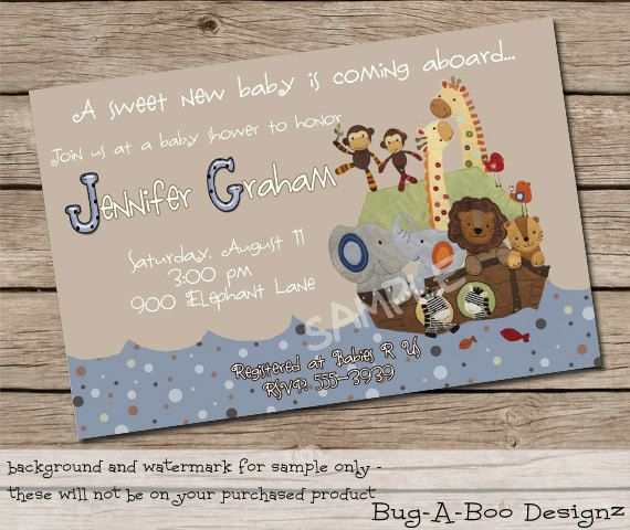 Noah's Ark Custom Baby Shower Invitation - Printable  background color can be changed